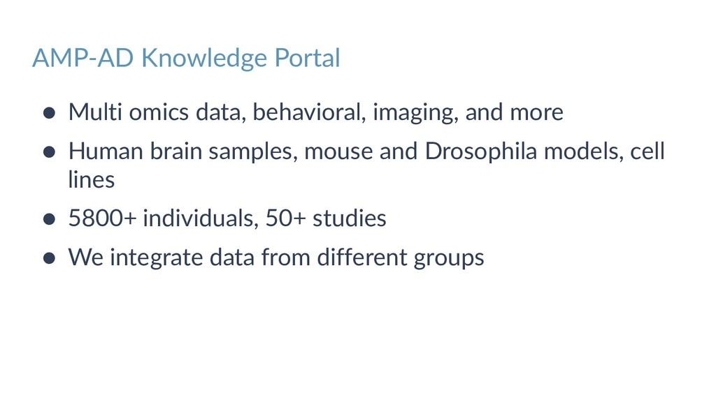 AMP-AD Knowledge Portal ● Multi omics data, beh...