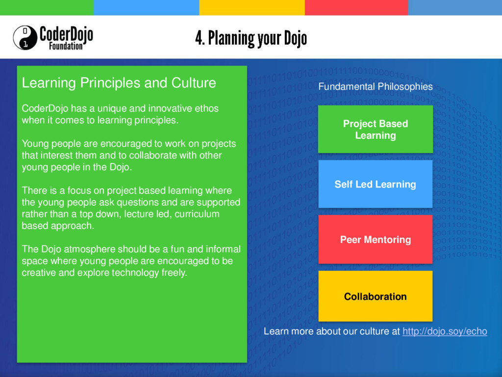 Learning Principles and Culture CoderDojo has a...