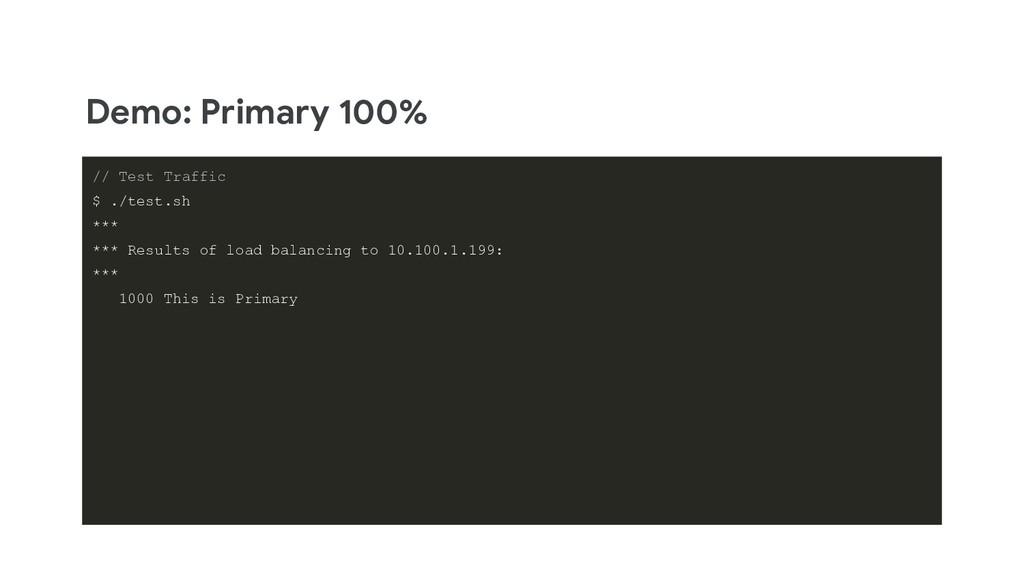 Demo: Primary 100% // Test Traffic $ ./test.sh ...