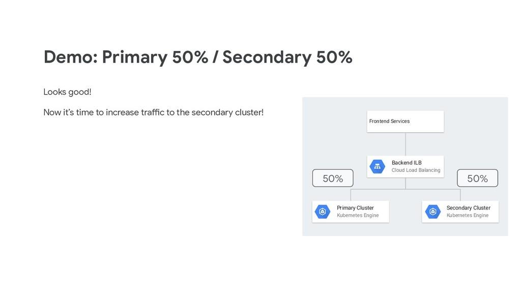 Demo: Primary 50% / Secondary 50% Looks good! N...