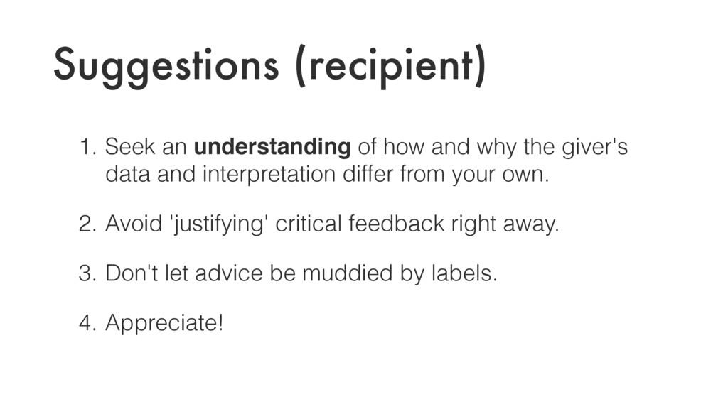 Suggestions (recipient) 1. Seek an understandin...