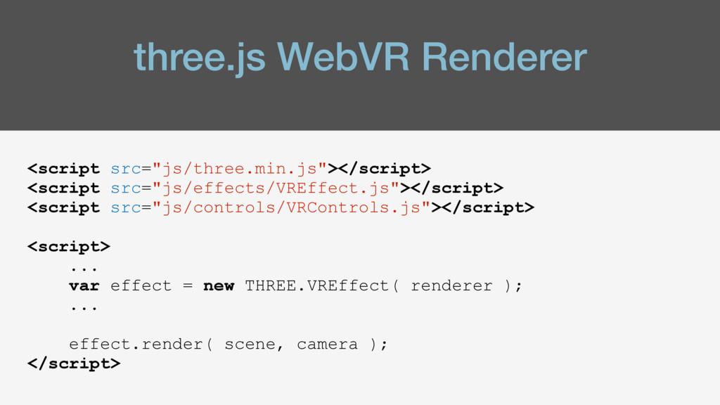 """three.js WebVR Renderer <script src=""""js/three.m..."""
