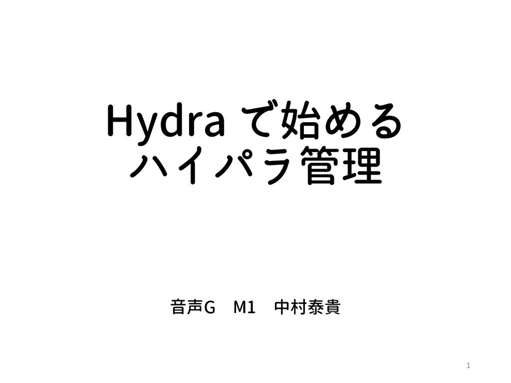 Hydra で始める ハイパラ管理 音声G M1 中村泰貴 1