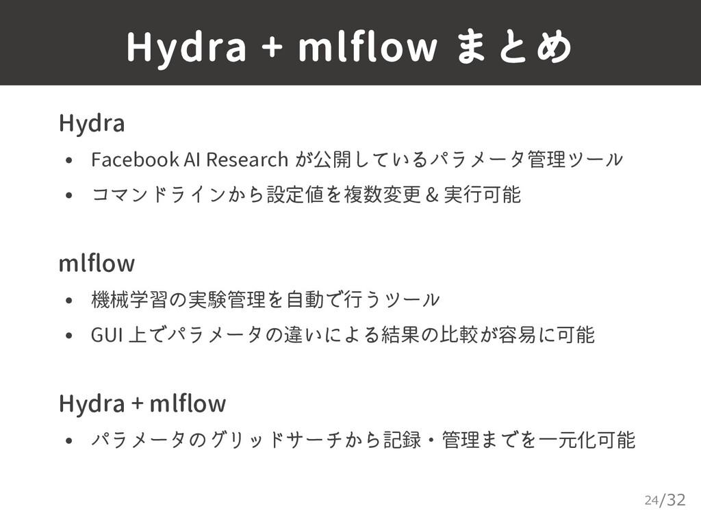 /32 Hydra + mlflow まとめ 24 ▸ Hydra • Facebook AI...
