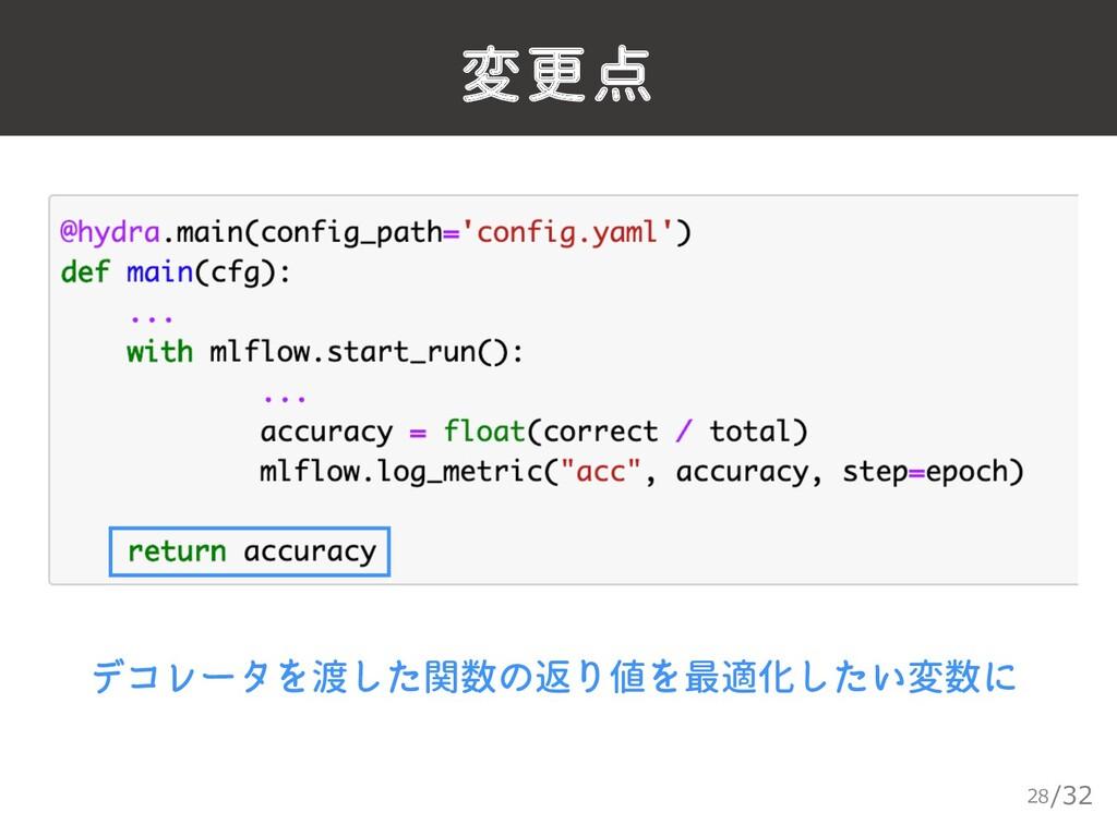/32 変更点 28 デコレータを渡した関数の返り値を最適化したい変数に