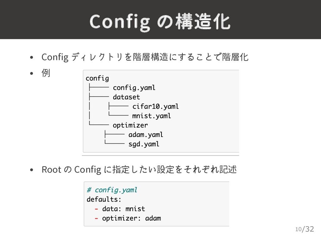 /32 Config の構造化 10 • Config ディレクトリを階層構造にすることで階層...