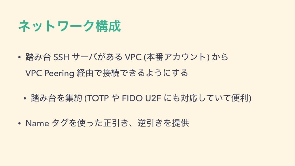 ωοτϫʔΫߏ • ౿Έ SSH αʔό͕͋Δ VPC (ຊ൪ΞΧϯτ) ͔Β VPC...