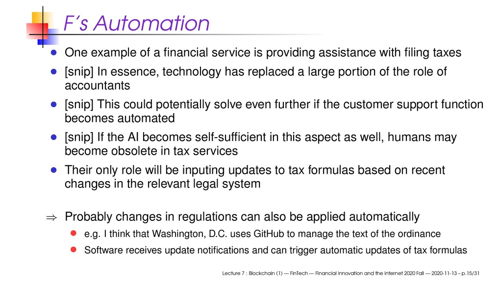 F's Automation One example of a financial servic...