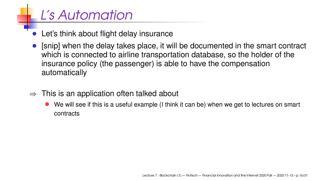 L's Automation Let's think about flight delay in...