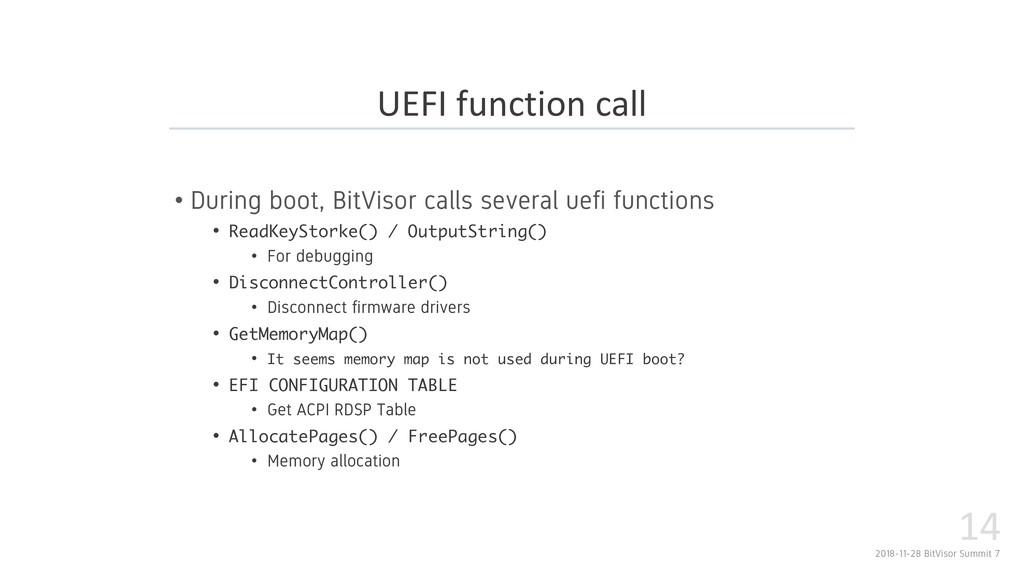2018-11-28 BitVisor Summit 7 14 • During boot, ...