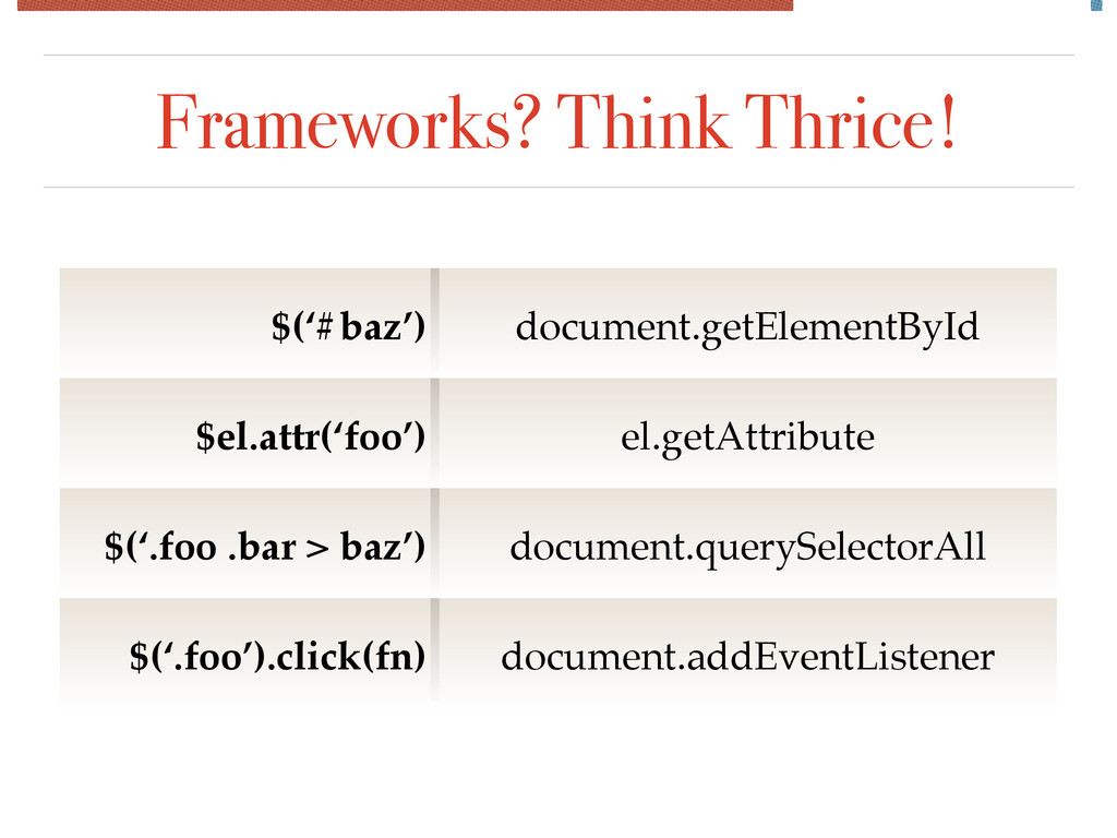 Frameworks? Think Thrice! $('#baz') document.ge...