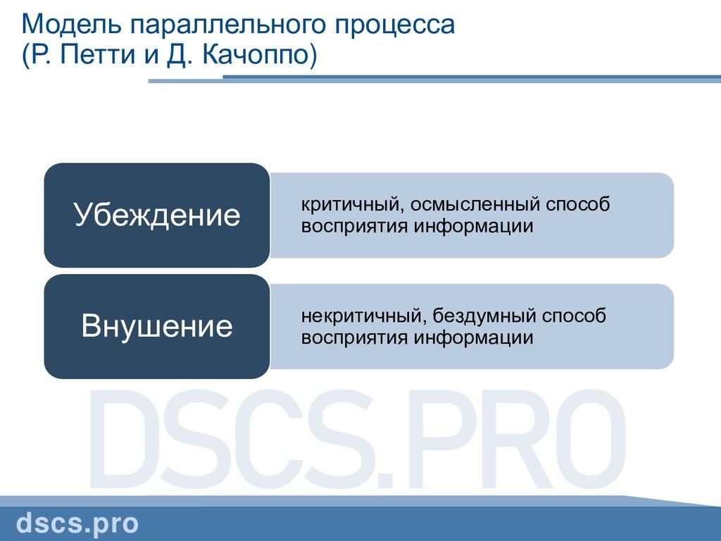 Модель параллельного процесса (Р. Петти и Д. Ка...