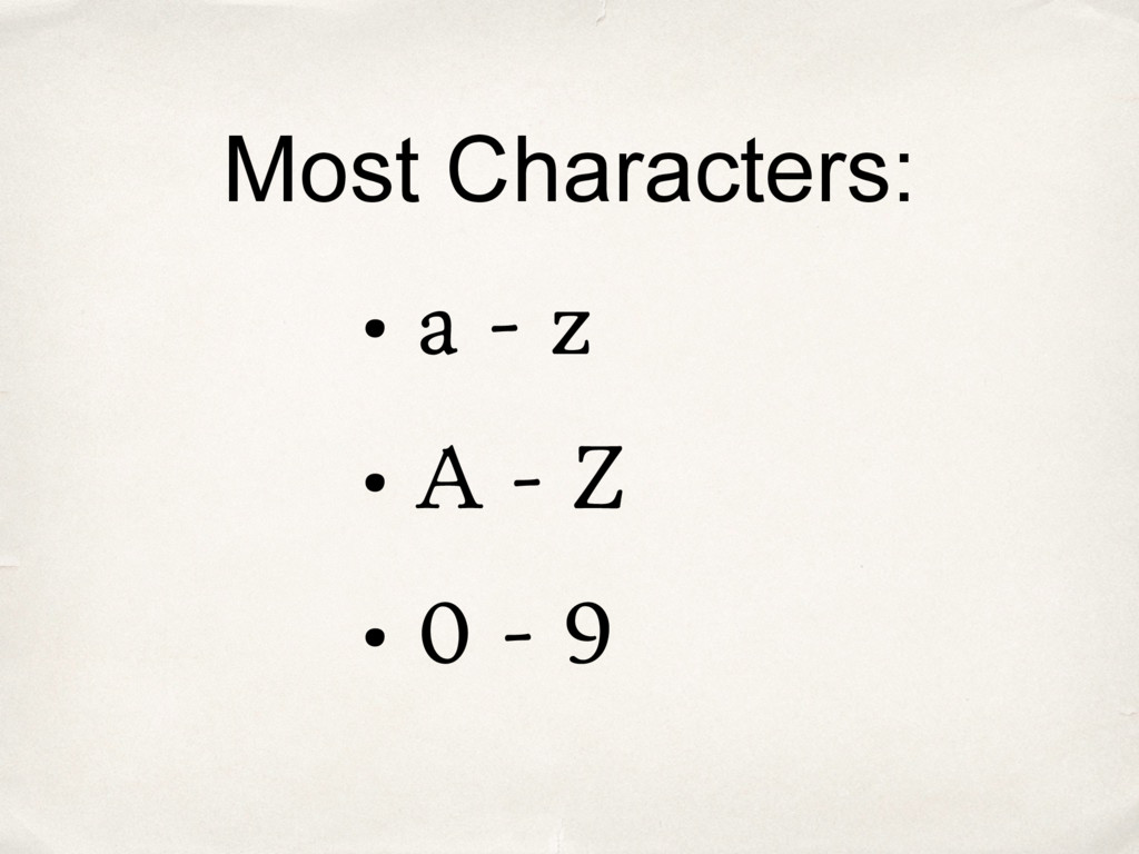 Most Characters: • a - z • A - Z • 0 - 9