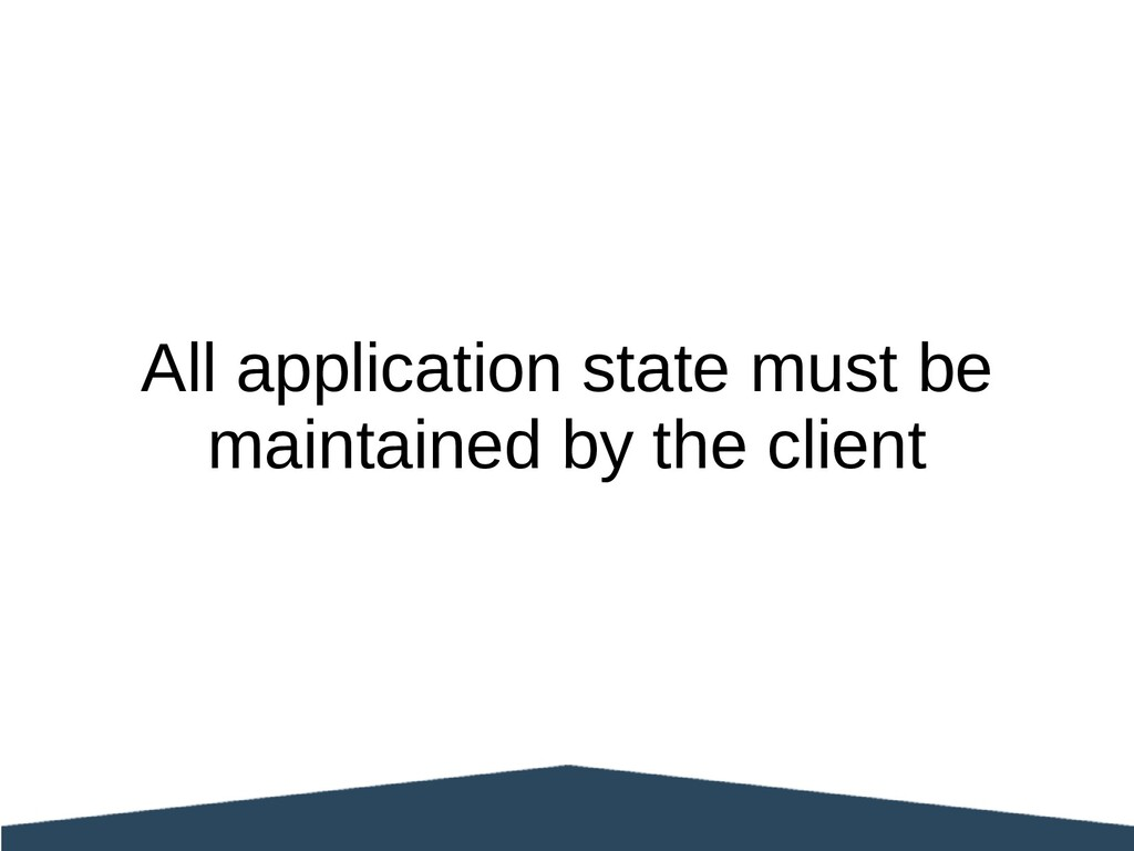 All application state must be maintained by the...