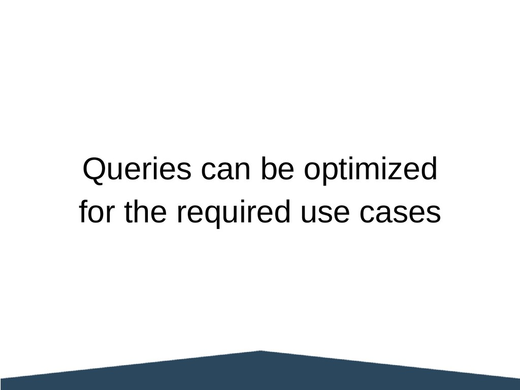 Queries can be optimized for the required use c...