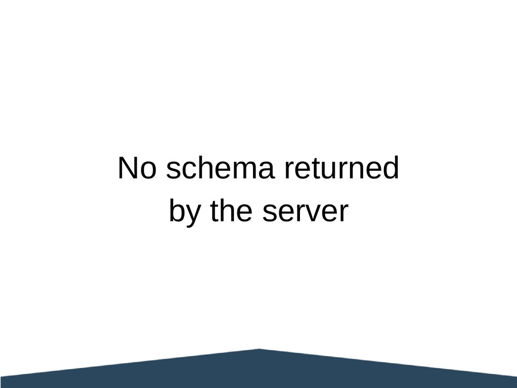 No schema returned by the server
