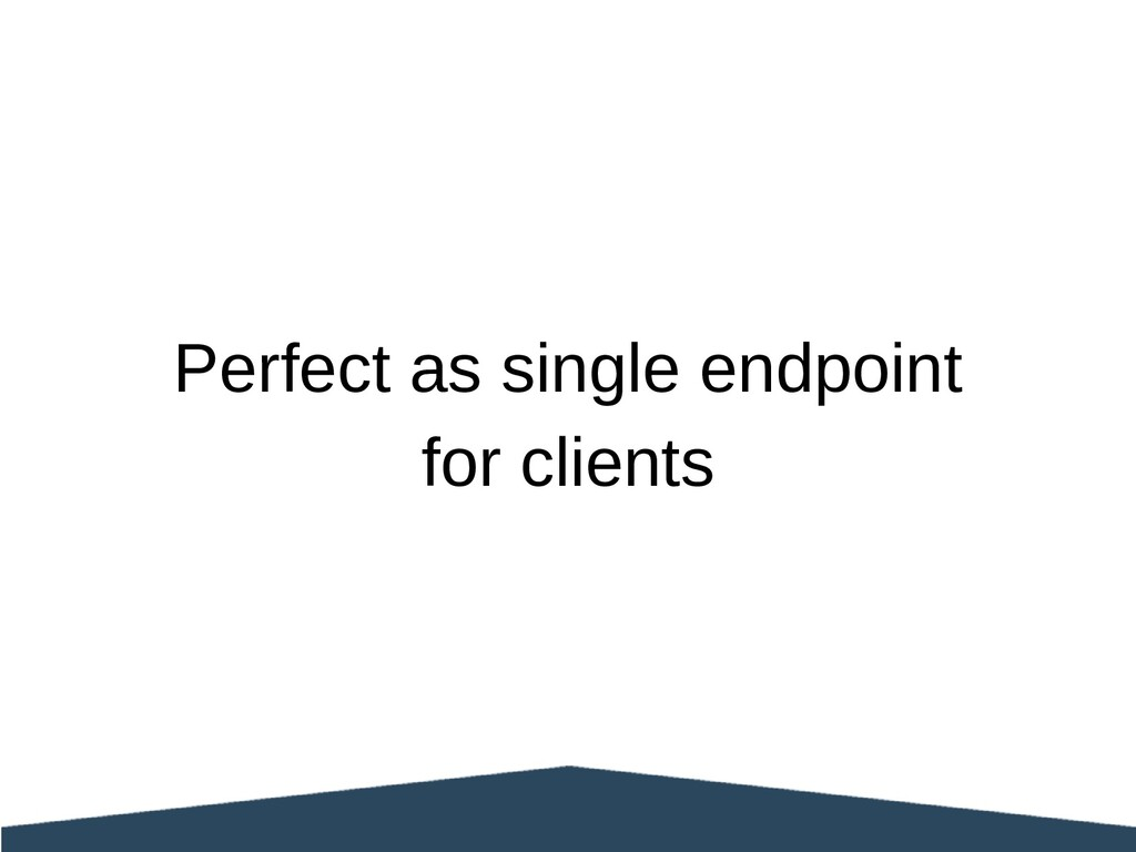 Perfect as single endpoint for clients