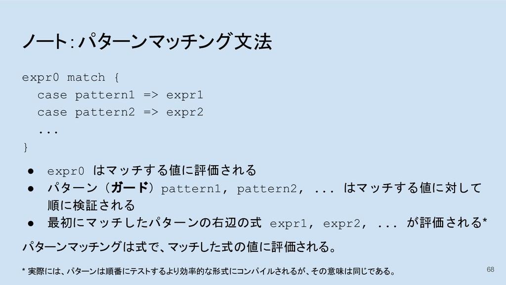 ノート:パターンマッチング文法 expr0 match { case pattern1 => ...
