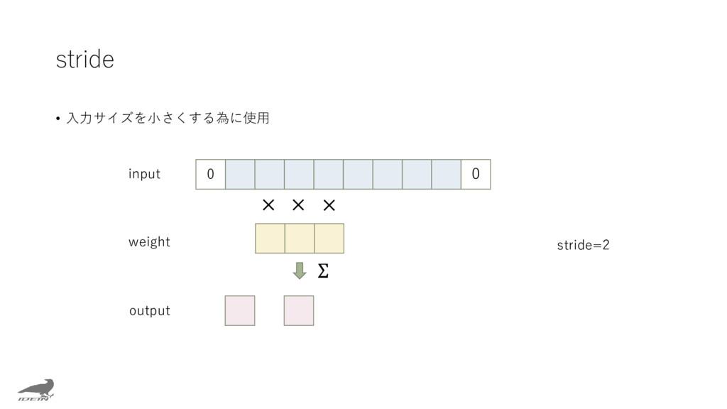 stride • 入力サイズを小さくする為に使用 0 × × × Σ input weight...