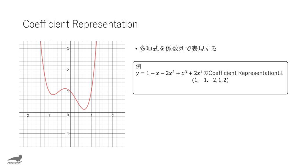 Coefficient Representation • 多項式を係数列で表現する 例  = ...
