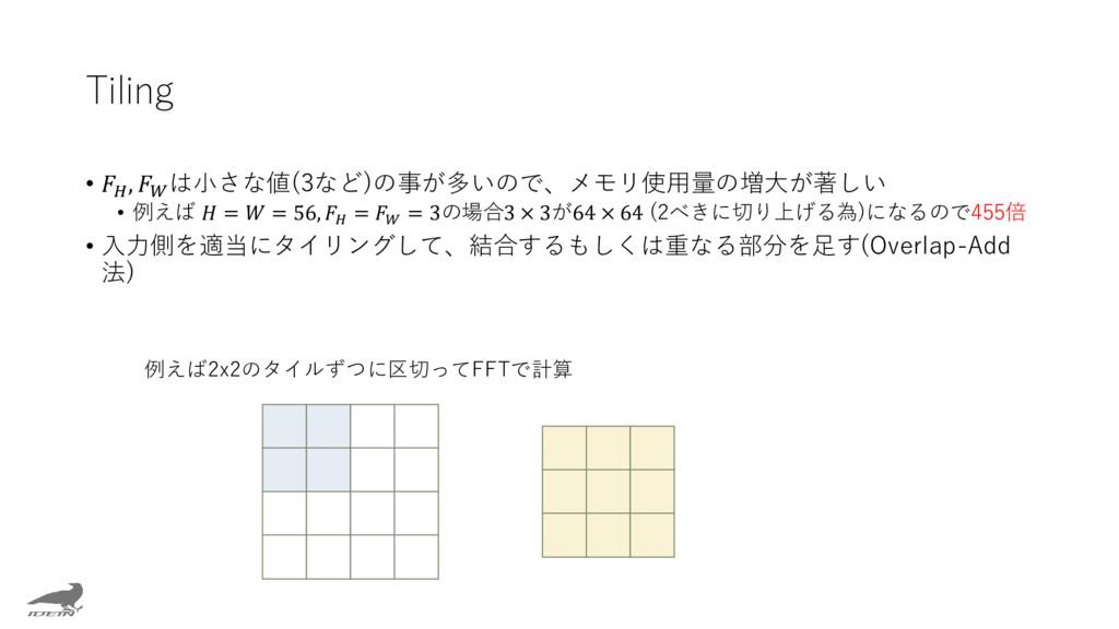 Tiling •  ,  は小さな値(3など)の事が多いので、メモリ使用量の増大が著しい • ...