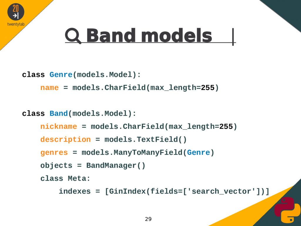  Band models | class Genre(models.Model): name...