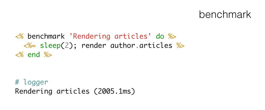 benchmark <% benchmark 'Rendering articles' do ...