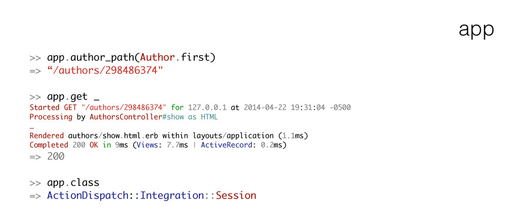 "app >> app.author_path(Author.first) => ""/autho..."