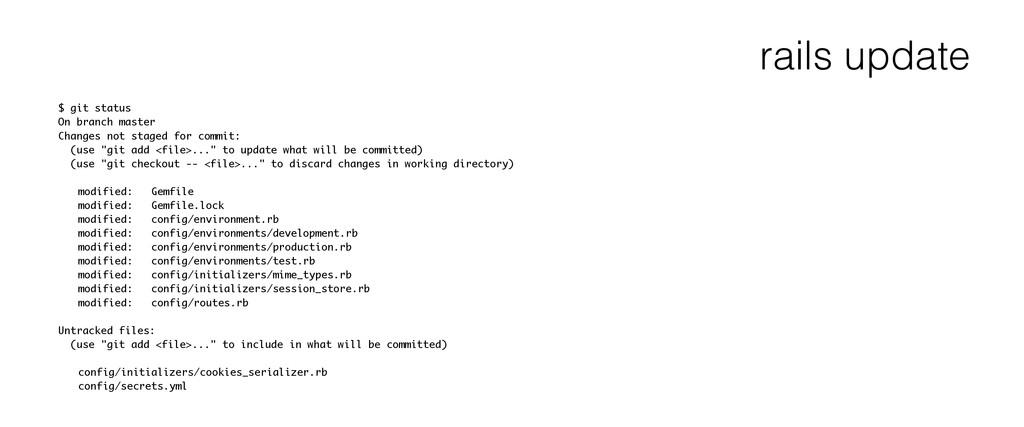 rails update $ git status On branch master Chan...