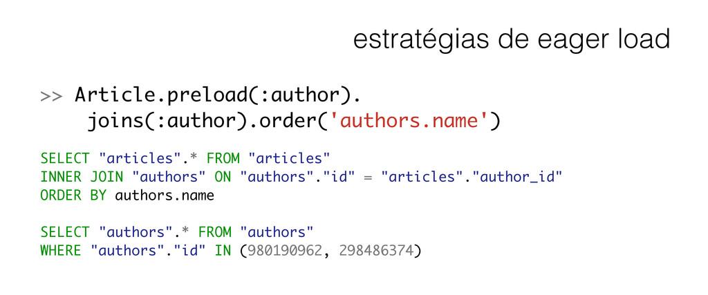 estratégias de eager load >> Article.preload(:a...