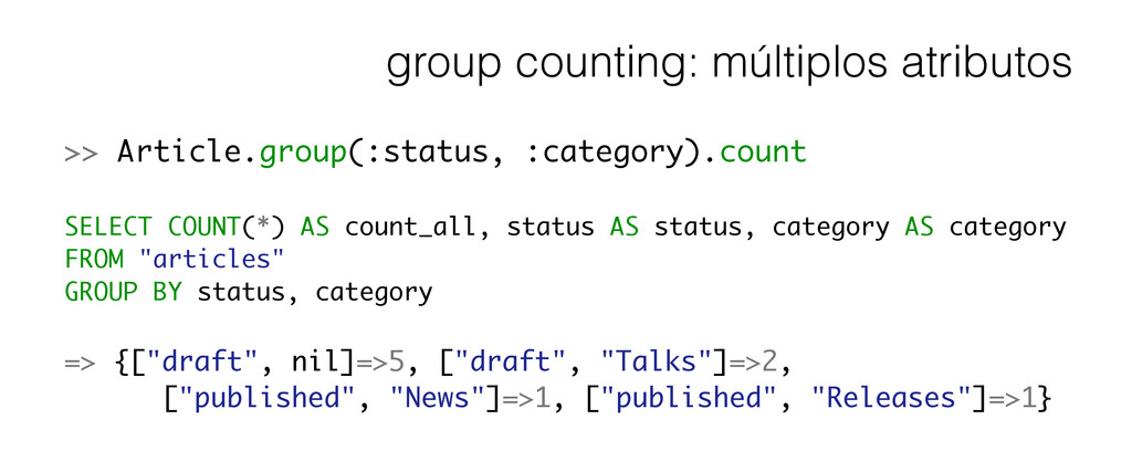group counting: múltiplos atributos >> Article....