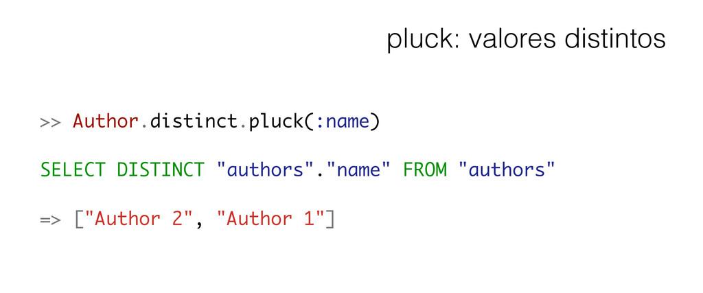 pluck: valores distintos >> Author.distinct.plu...