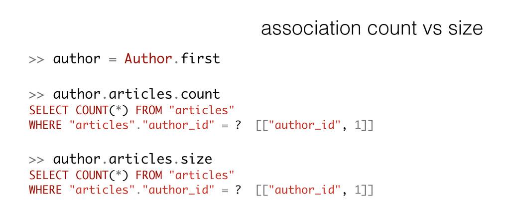 association count vs size >> author = Author.fi...