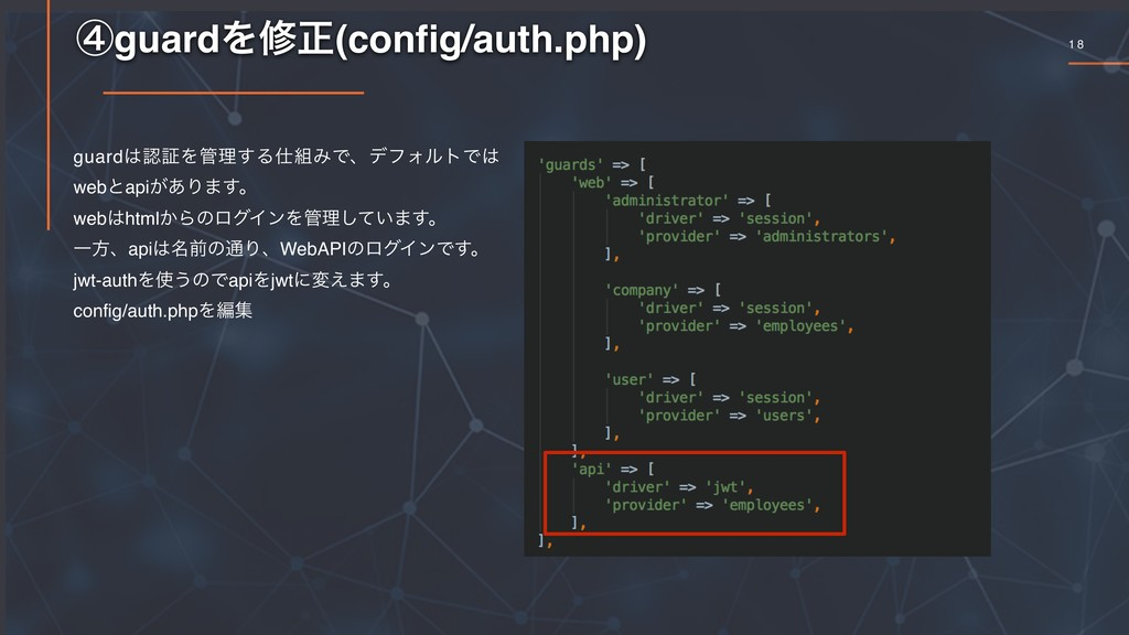 1 8 ᶆguardΛमਖ਼(config/auth.php) guard͸ೝূΛ؅ཧ͢Δ࢓૊Έ...