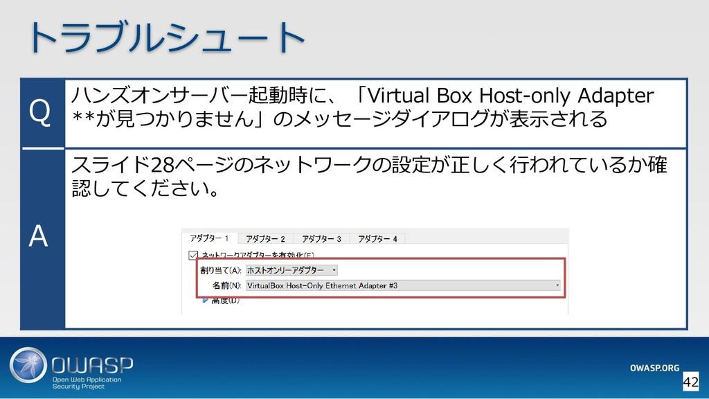 トラブルシュート Q ハンズオンサーバー起動時に、「Virtual Box Host-only...