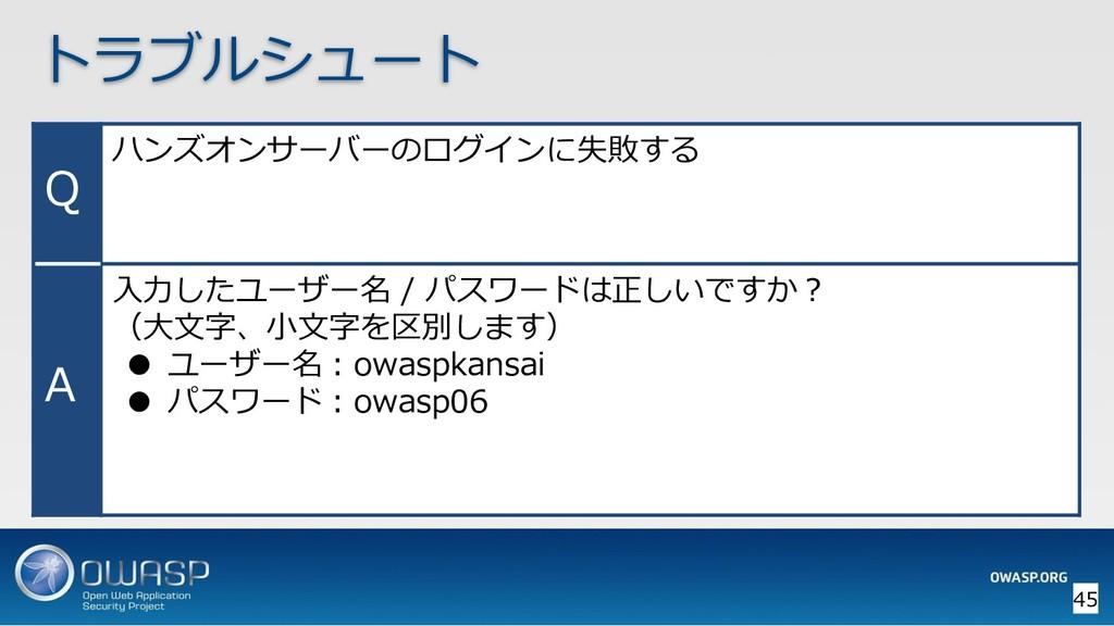 トラブルシュート Q ハンズオンサーバーのログインに失敗する A 入力したユーザー名 / パス...