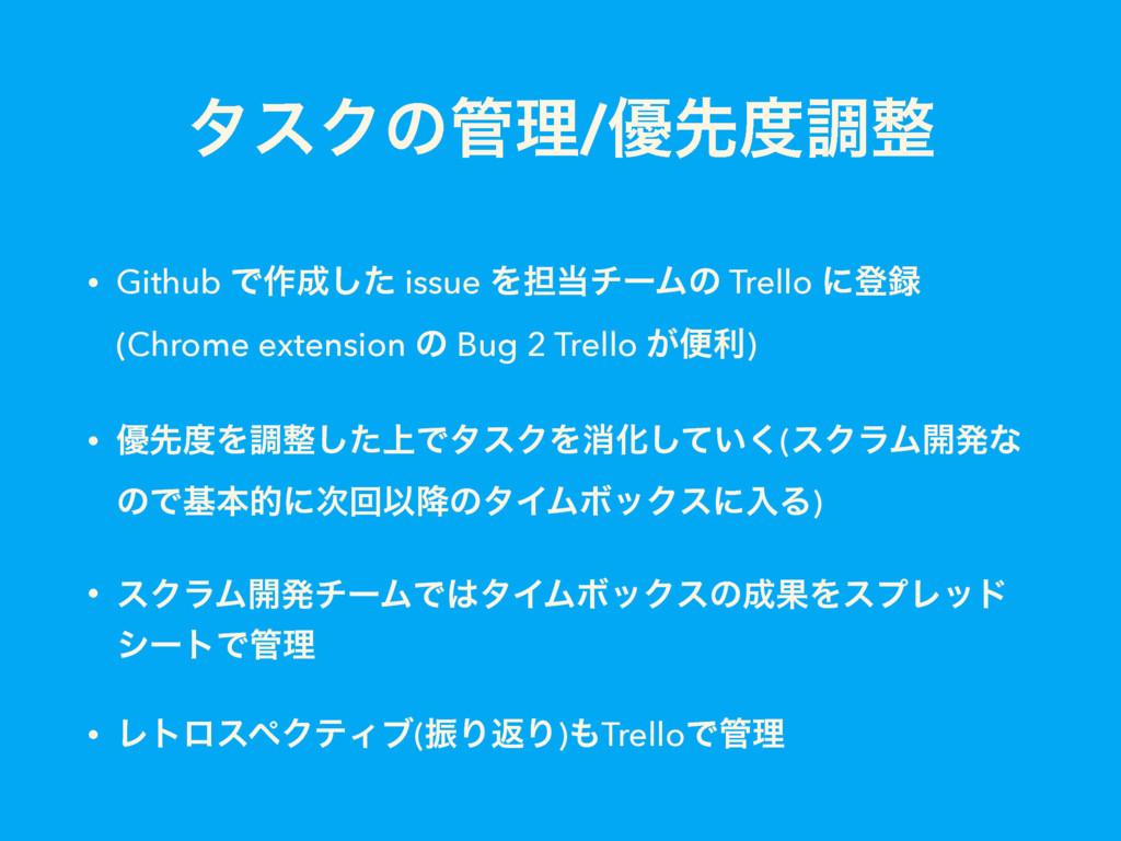 λεΫͷཧ/༏ઌௐ • Github Ͱ࡞ͨ͠ issue Λ୲νʔϜͷ Trell...