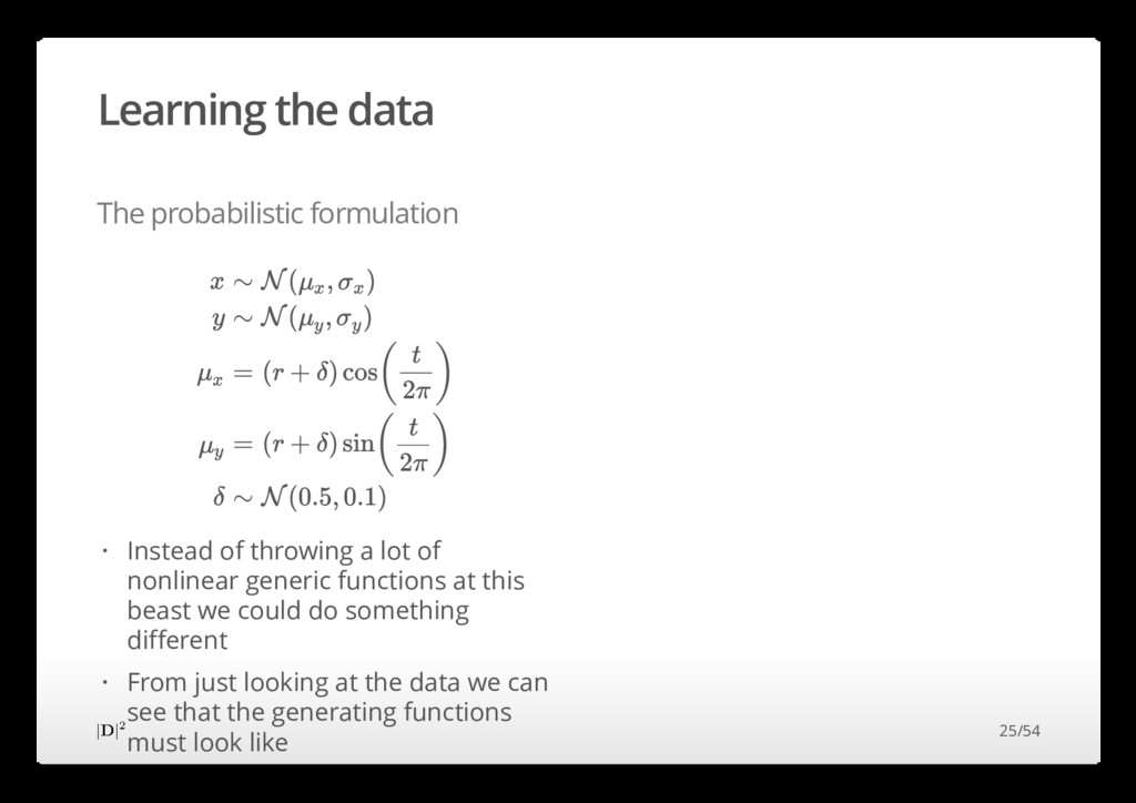 Learning the data The probabilistic formulation...