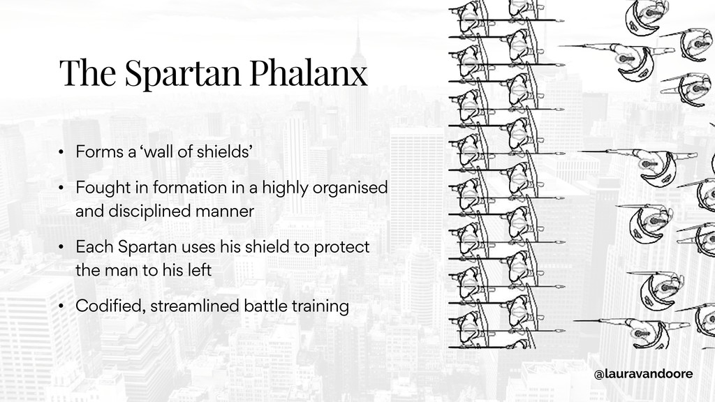 The Spartan Phalanx • Forms a 'wall of shields'...