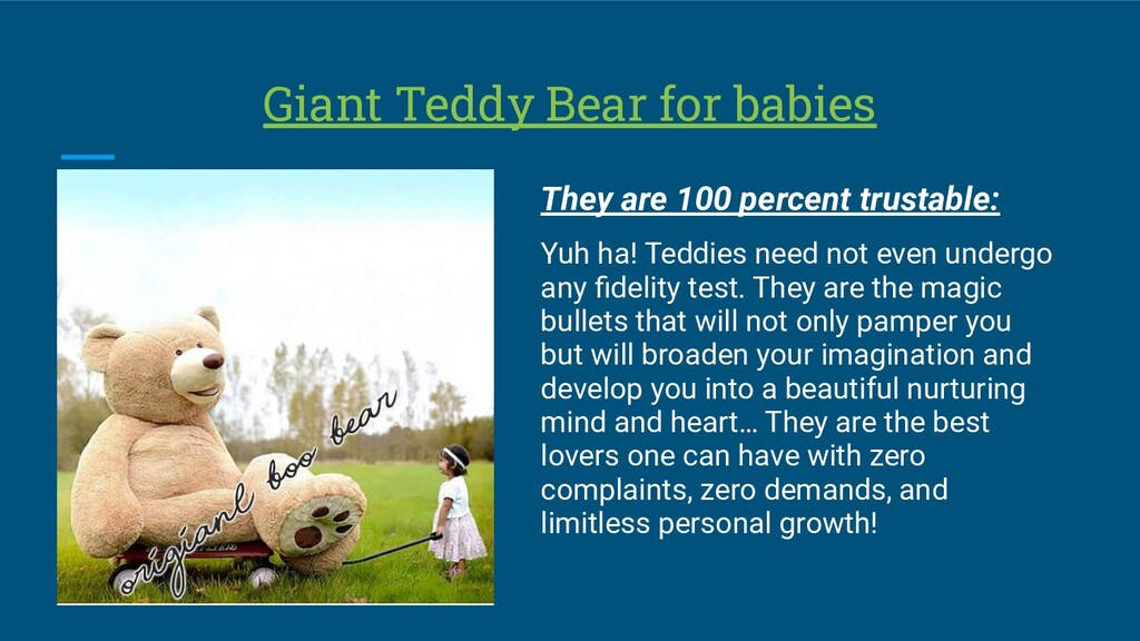 Giant Teddy Bear for babies They are 100 percen...