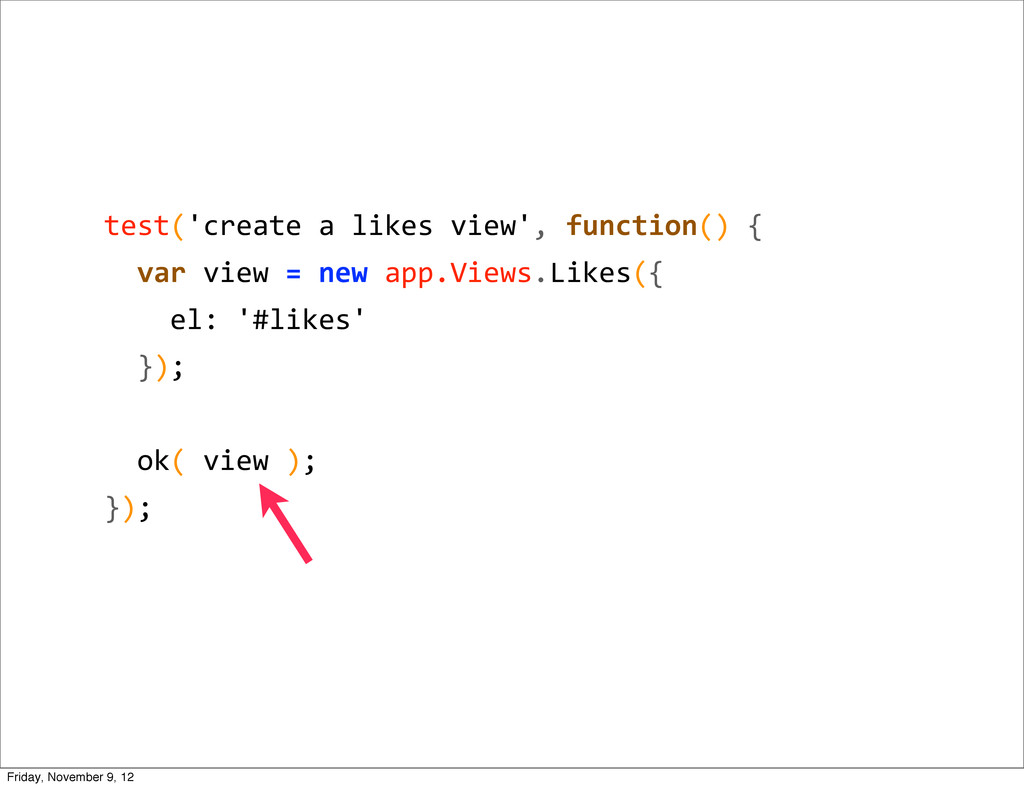 test('create a likes view', functio...