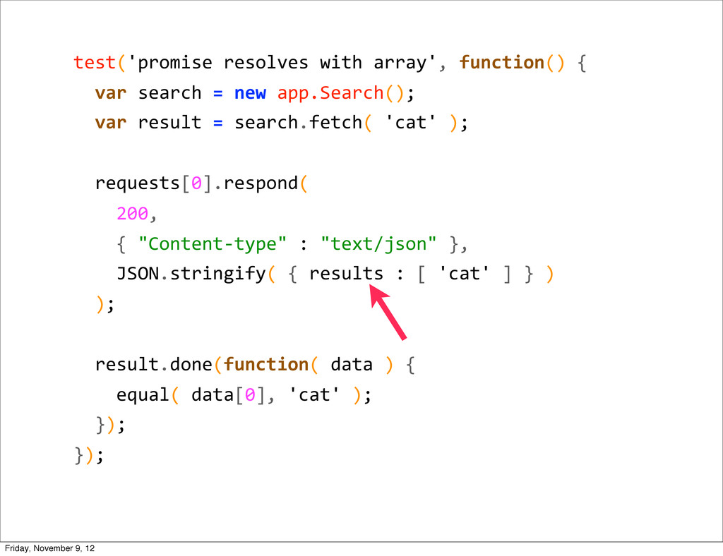 test('promise resolves with array', ...