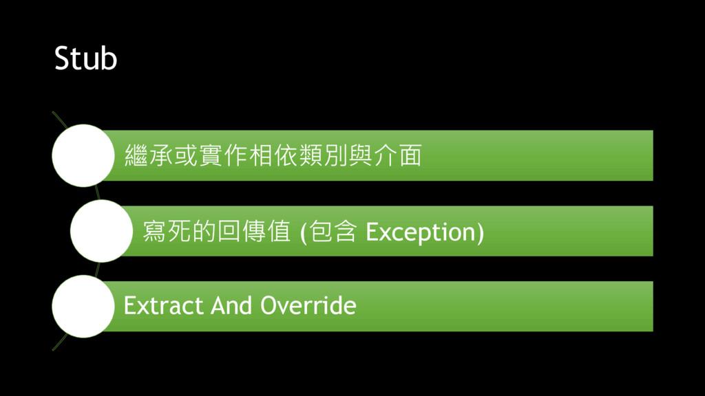 Stub 繼承或實作相依類別與介面 寫死的回傳值 (包含 Exception) Extract...