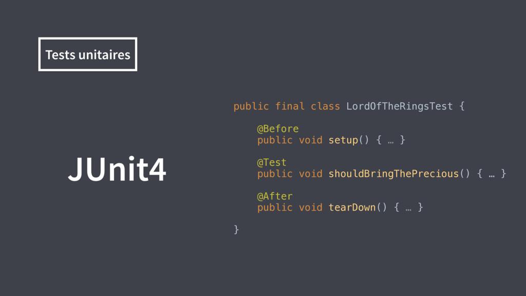 JUnit4 public final class LordOfTheRingsTest {...