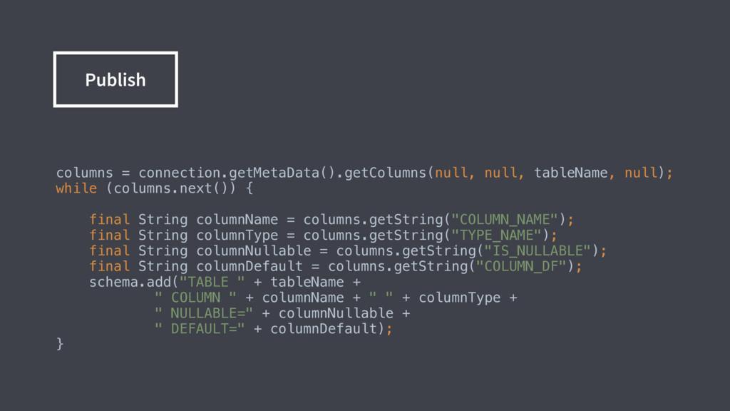 columns = connection.getMetaData().getColumns(n...