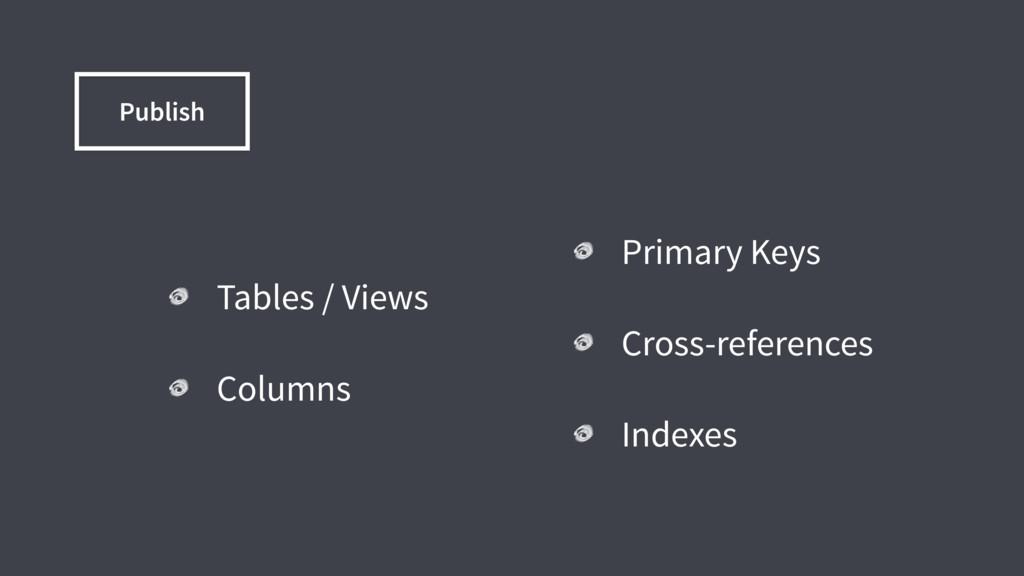 Tables / Views Columns Primary Keys Cross-refer...