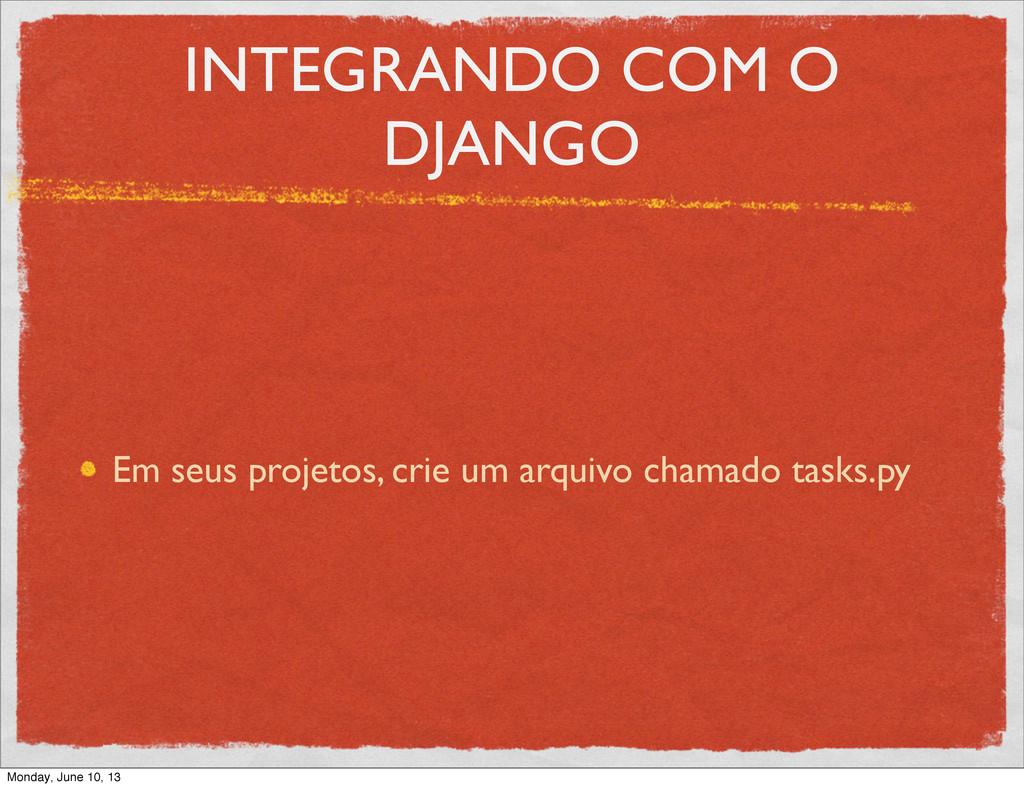 INTEGRANDO COM O DJANGO Em seus projetos, crie ...