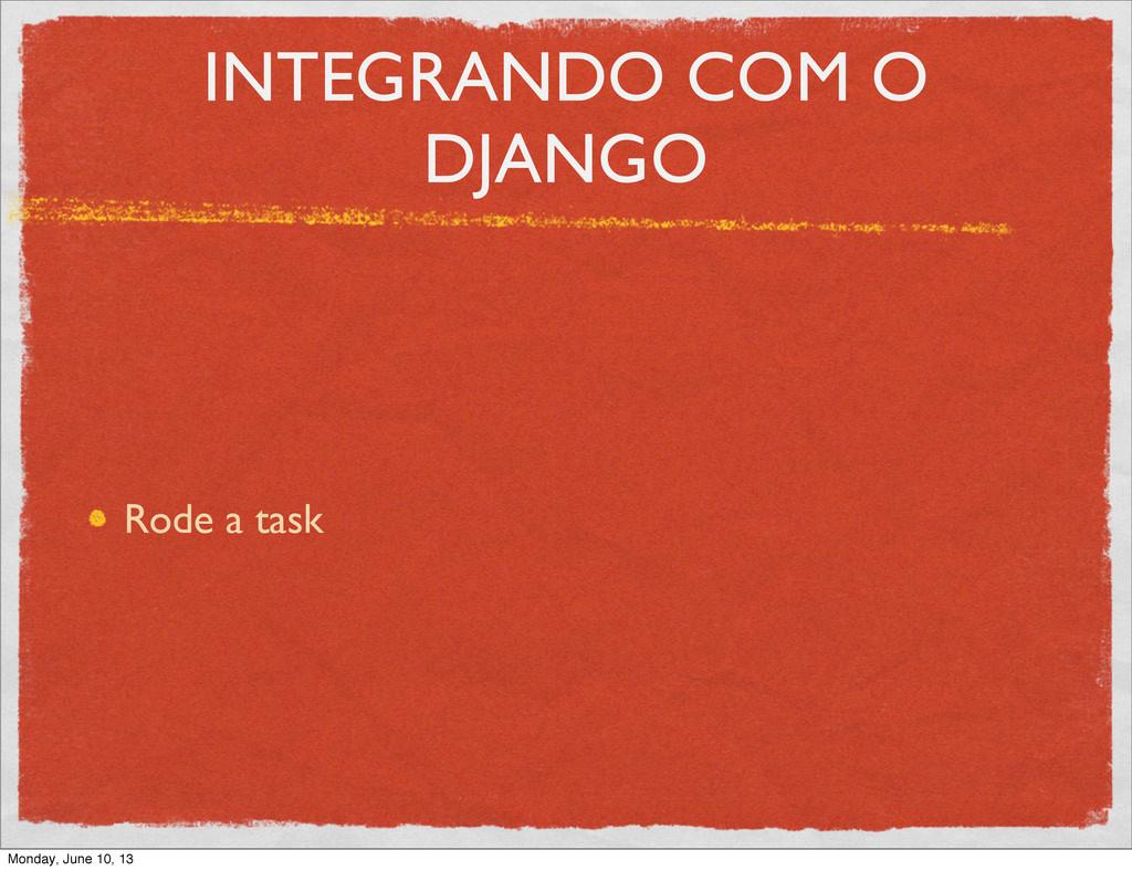 INTEGRANDO COM O DJANGO Rode a task Monday, Jun...