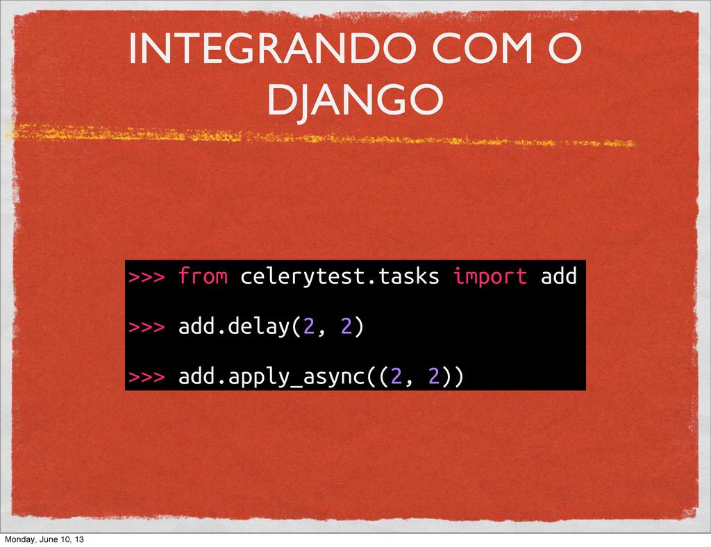 INTEGRANDO COM O DJANGO >>> from celerytest.tas...