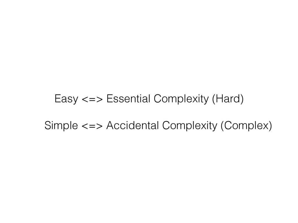 Easy <=> Essential Complexity (Hard) Simple <=>...